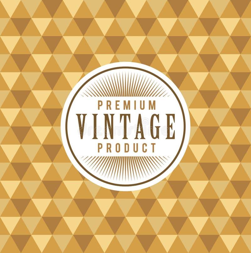 葡萄酒标签有无缝的金三角样式背景 成套设计的理想 库存例证