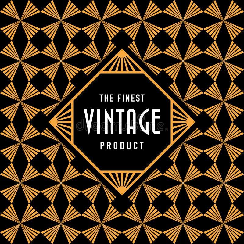 葡萄酒标签有无缝的金子艺术装饰样式背景 向量例证