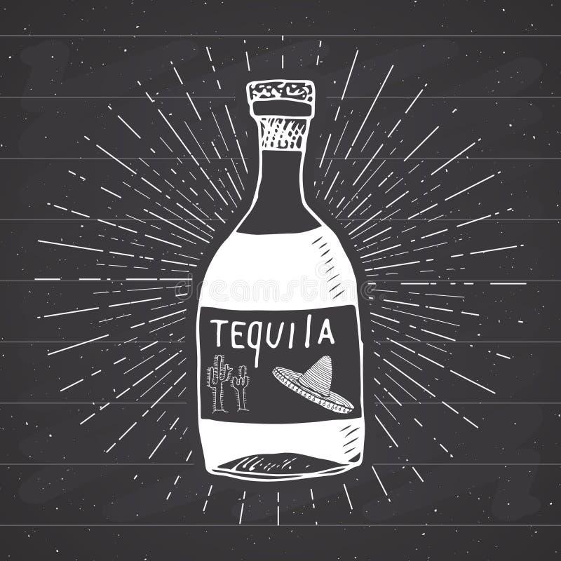 葡萄酒标签,手拉的瓶龙舌兰酒墨西哥传统酒精饮料剪影,难看的东西构造了减速火箭的徽章,象征设计, 皇族释放例证