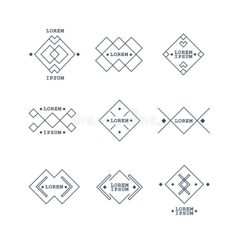 葡萄酒标记在几何形状的汇集 集合 皇族释放例证