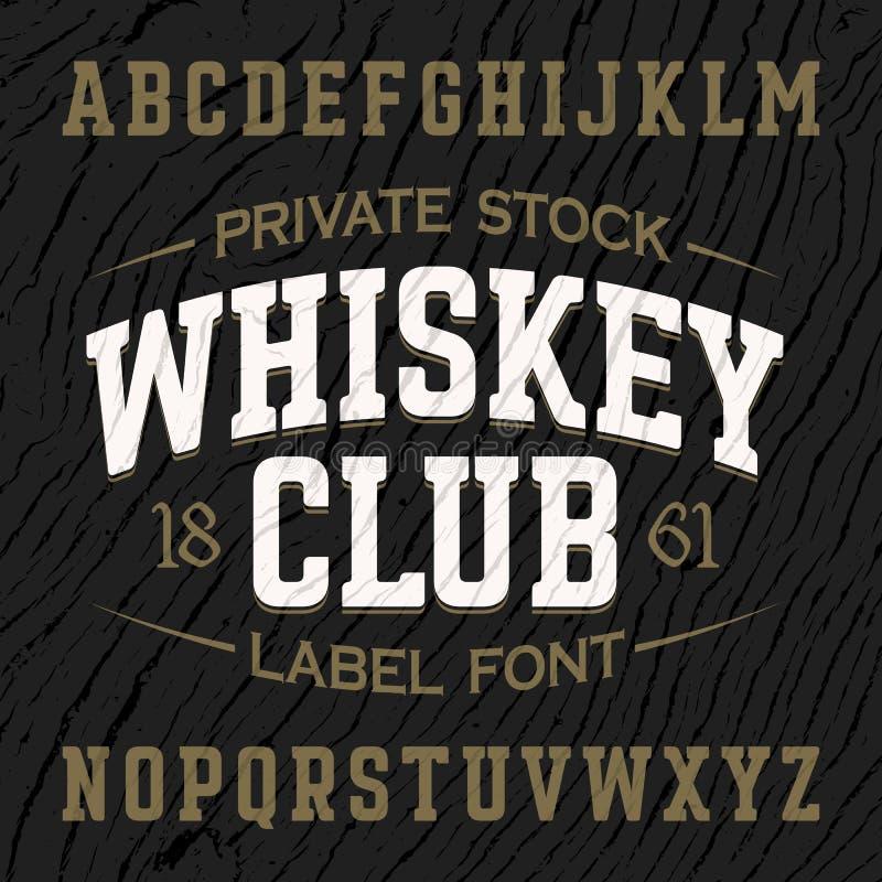 葡萄酒样式与范例设计的标签字体 向量例证