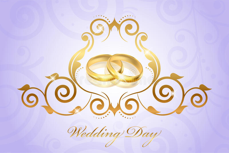葡萄酒样式与金戒指的婚礼邀请 库存例证