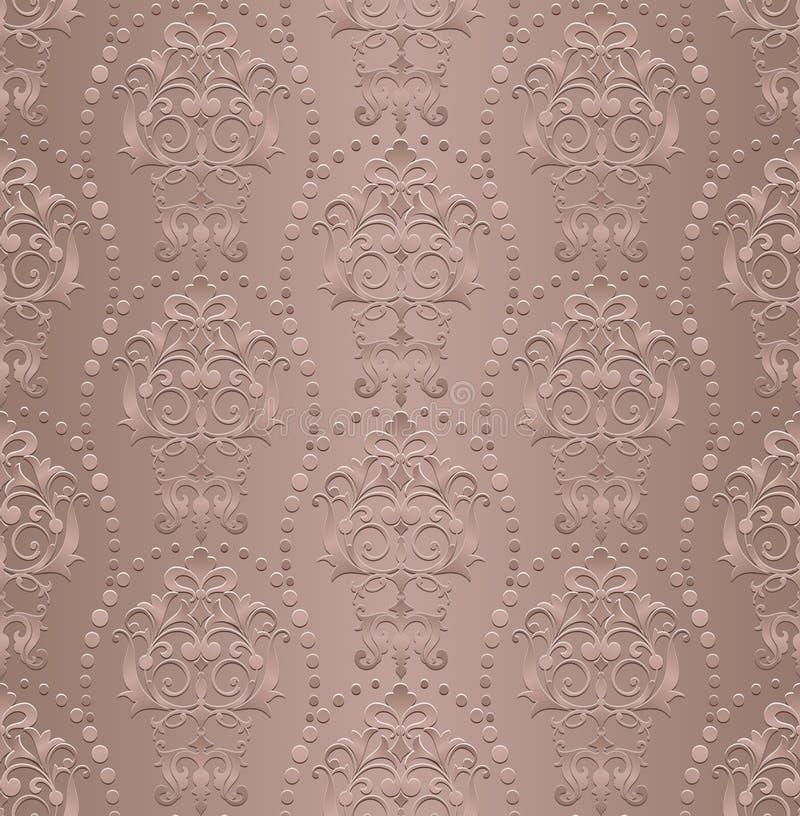 葡萄酒样式墙纸锦缎艺术nouveau装饰花卉设计元素无缝的纹理色的背景 向量例证