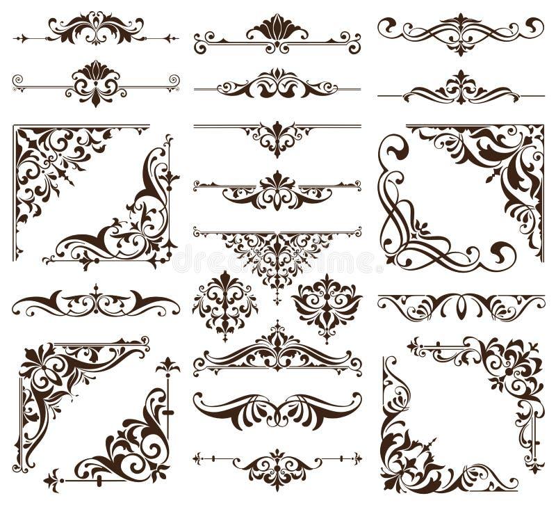 葡萄酒样式墙纸锦缎艺术nouveau装饰花卉设计元素无缝的纹理色的背景 库存例证