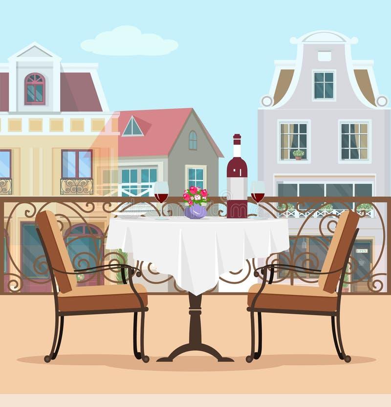葡萄酒样式有桌和椅子的传染媒介阳台 大阳台和城市背景的五颜六色的图表平的概念 库存例证