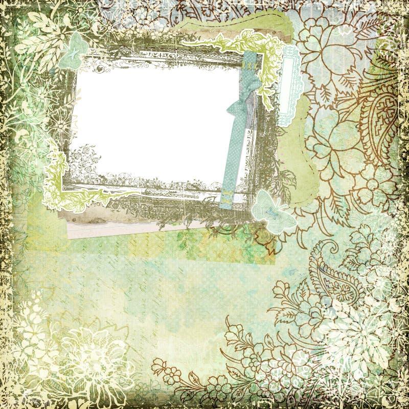 葡萄酒样式植物的花卉背景框架1 库存例证