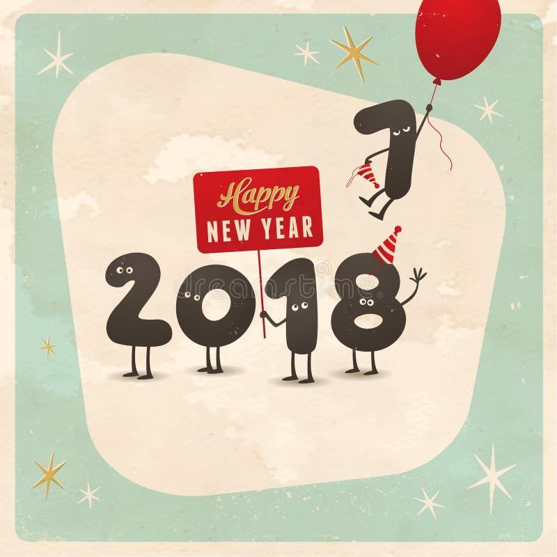 葡萄酒样式滑稽的贺卡-新年快乐2018年 库存例证