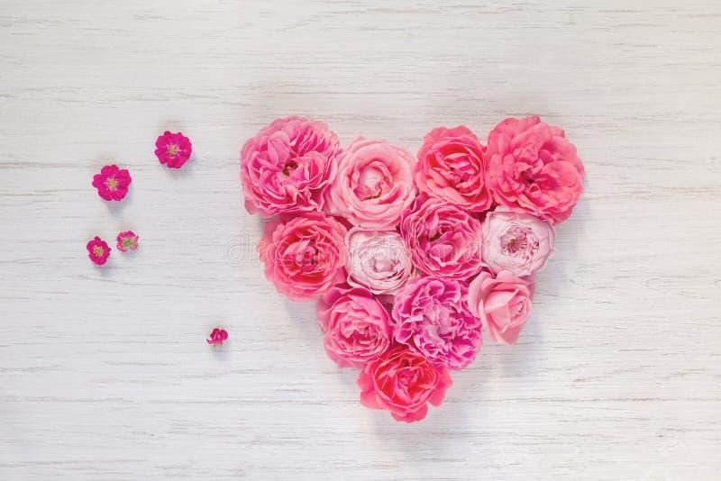 葡萄酒桃红色的心脏上升了在白色木背景,顶视图的花 免版税库存照片