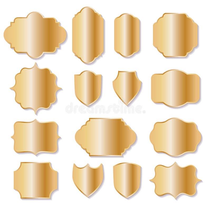 葡萄酒框架和标号组汇集在金黄豪华样式 皇族释放例证