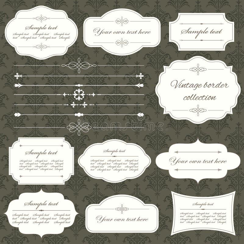 葡萄酒框架和页装饰在锦缎无缝的背景设置了 书法设计要素图象向量 库存例证