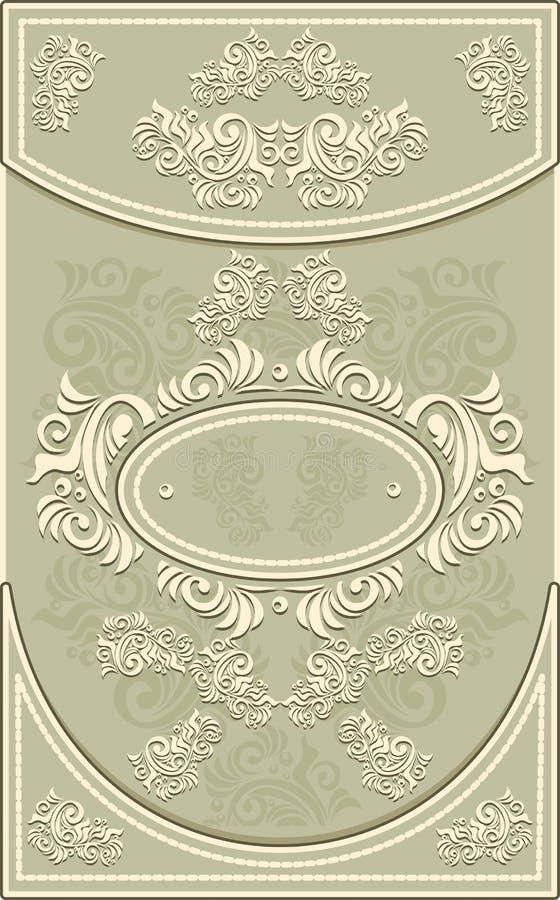 葡萄酒框架或标签有花卉背景在o 皇族释放例证