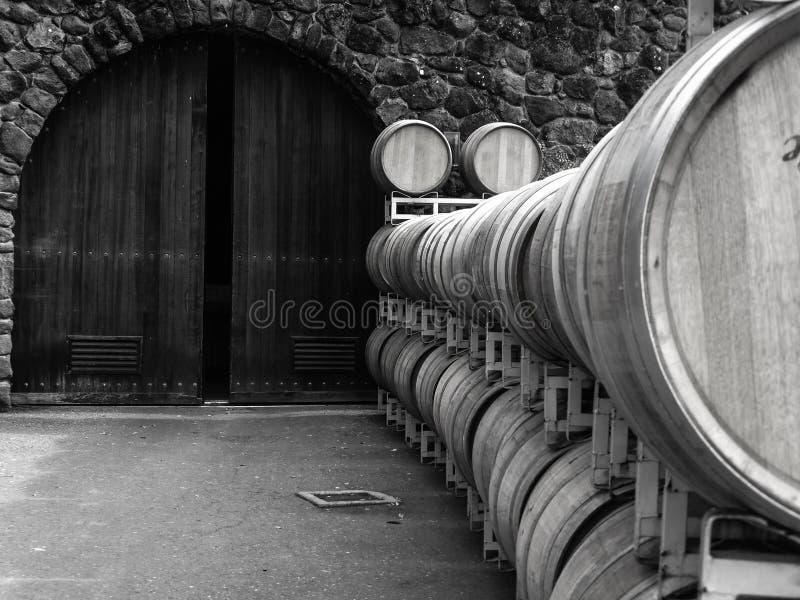 葡萄酒桶和被成拱形的门 库存照片