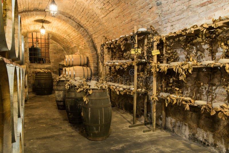 葡萄酒桶和pecorino的乳酪由母羊`做的干意大利乳酪s在一个传统地窖里挤奶 库存照片