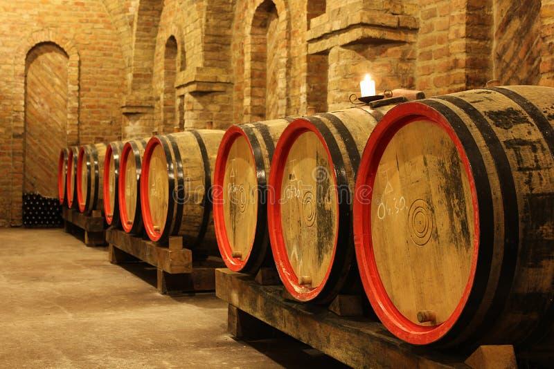 葡萄酒桶在地窖里 免版税库存照片