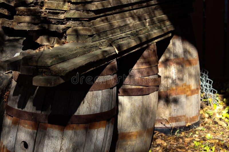 葡萄酒橡木桶和木头 库存图片