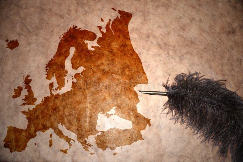 葡萄酒欧洲地图 免版税图库摄影
