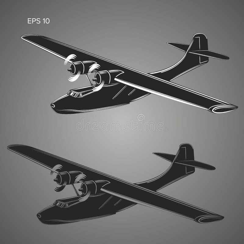 葡萄酒水上飞机传染媒介例证 减速火箭的水上飞机 老海军floatplane 向量例证
