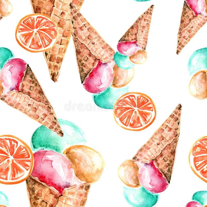 葡萄酒水彩无缝的样式-薄酥饼锥体冰淇淋用莓果 皇族释放例证