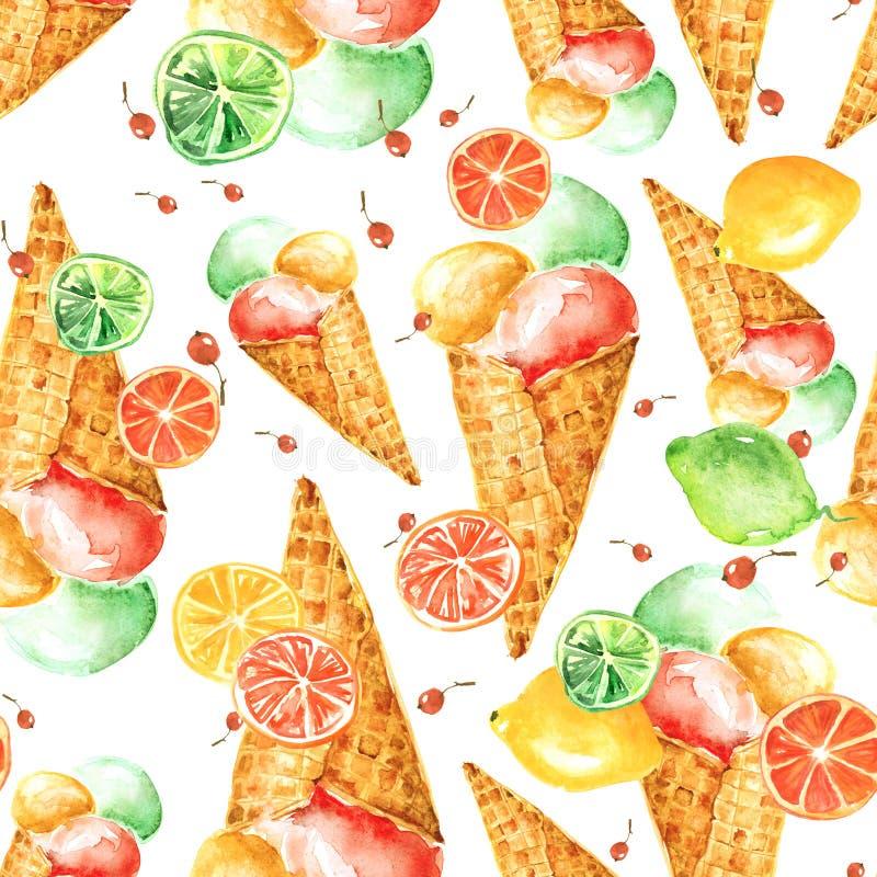 葡萄酒水彩无缝的样式-薄酥饼锥体冰淇淋用莓果 库存例证
