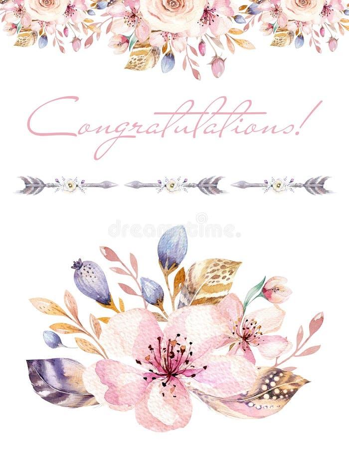 葡萄酒水彩花圈花海报、庭院和野花的花束元素与鸟花,例证 皇族释放例证
