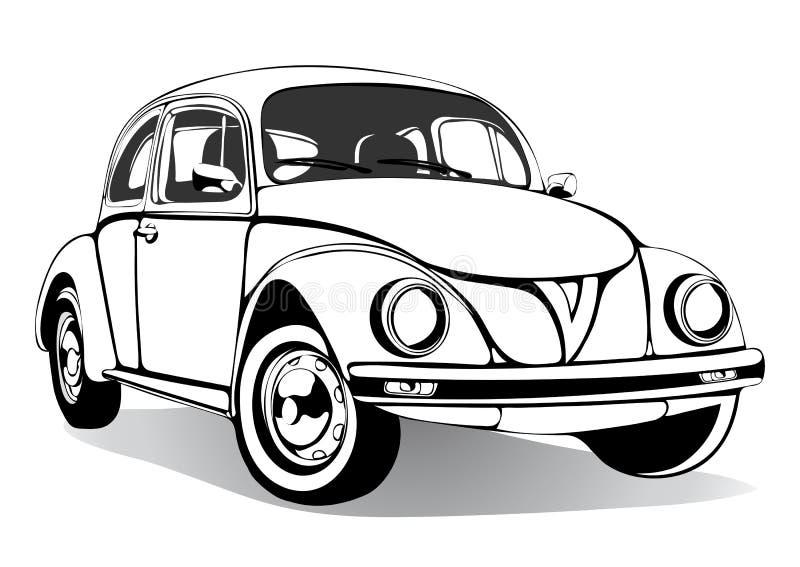 葡萄酒汽车剪影,彩图,黑白图画,单色 减速火箭的动画片运输 也corel凹道例证向量 库存例证
