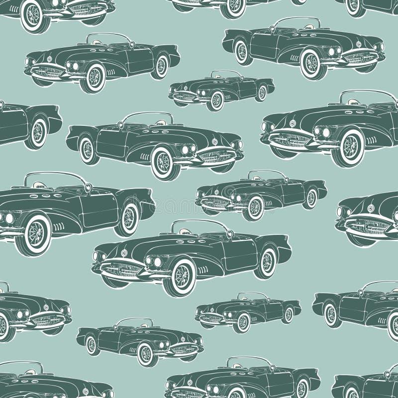 葡萄酒汽车敞蓬车无缝的样式,减速火箭的动画片背景,单色 对墙纸设计,封皮,织品 向量 向量例证