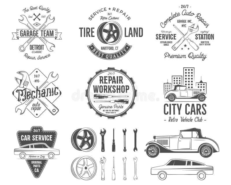 葡萄酒汽车服务徽章、车库修理减速火箭的标签和权威收藏 包括的轮胎服务象和设计 皇族释放例证