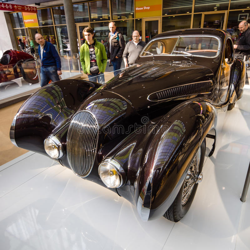 葡萄酒汽车Talbot-Lago T150 SS泪珠Coupe, 1937年 库存照片