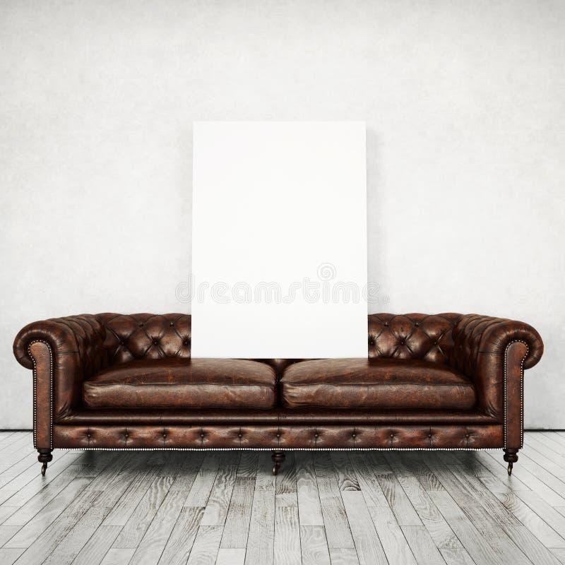 葡萄酒沙发和白色海报 免版税库存图片
