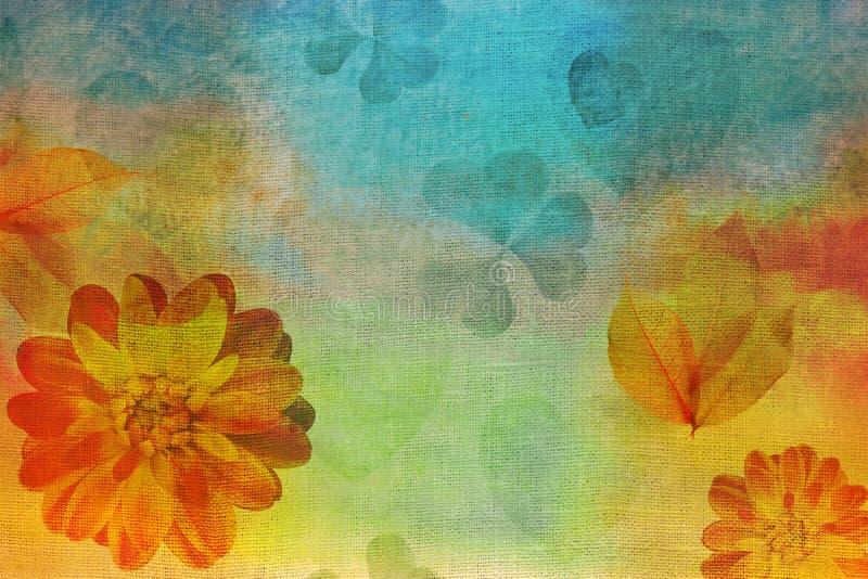 葡萄酒油,树胶水彩画颜料油画帆布仿效 水彩大丽花和心脏 坐垫、毯子或者pi的印象主义者的绘画 向量例证