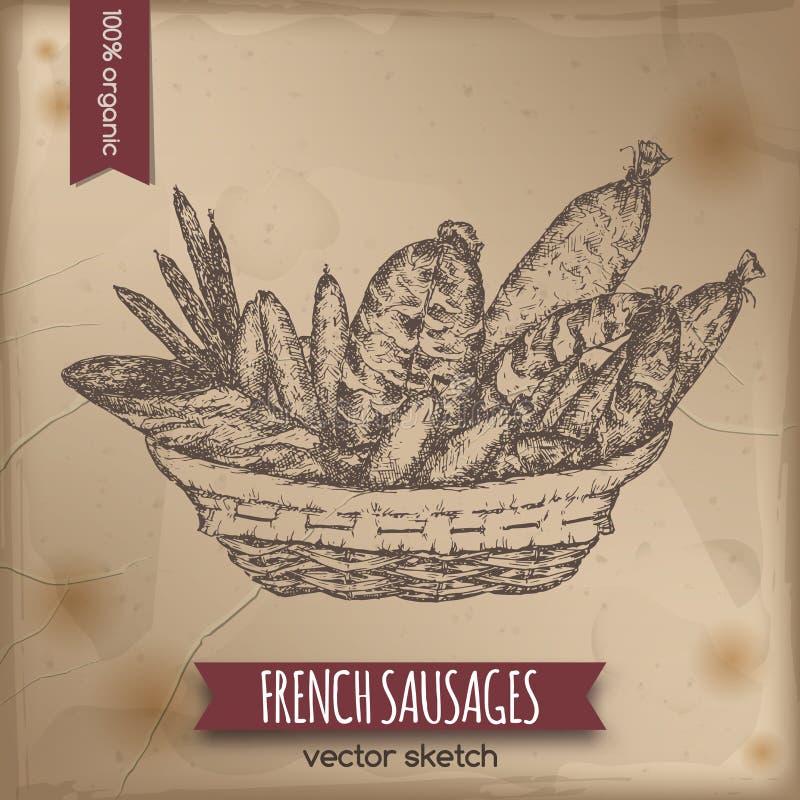 葡萄酒法国香肠模板 向量例证