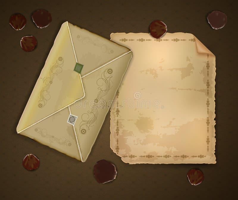 葡萄酒浪漫信件和信封与玫瑰花瓣在棕色背景,浪漫乡情,甜记忆邮件, 库存例证