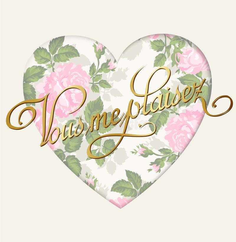葡萄酒浪漫玫瑰色背景 模板贺卡或邀请 爱 向量 皇族释放例证