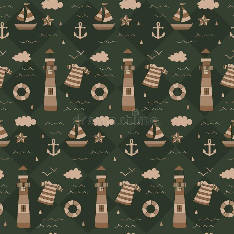 葡萄酒海军与胸口,指南针, shipwheel的寻宝样式 向量例证