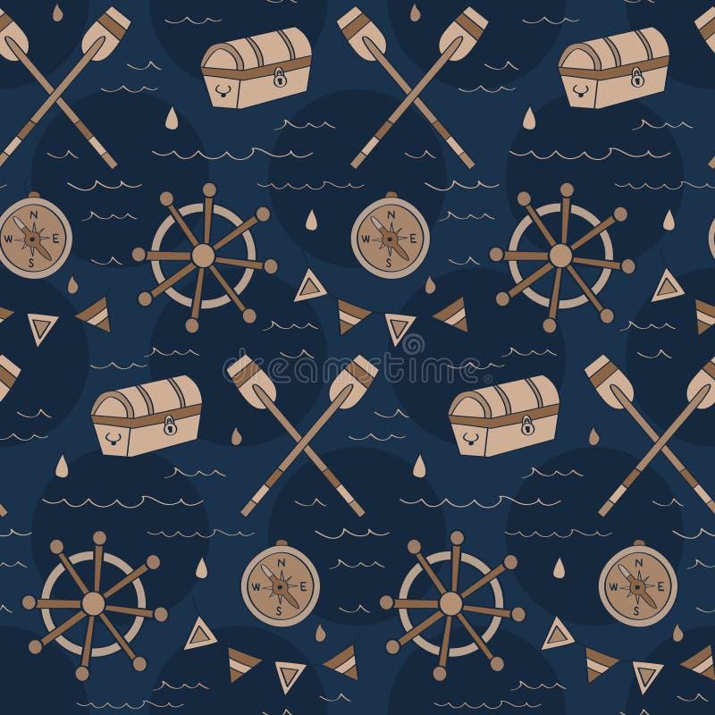 葡萄酒海军与胸口,指南针, shipwheel的寻宝样式 皇族释放例证