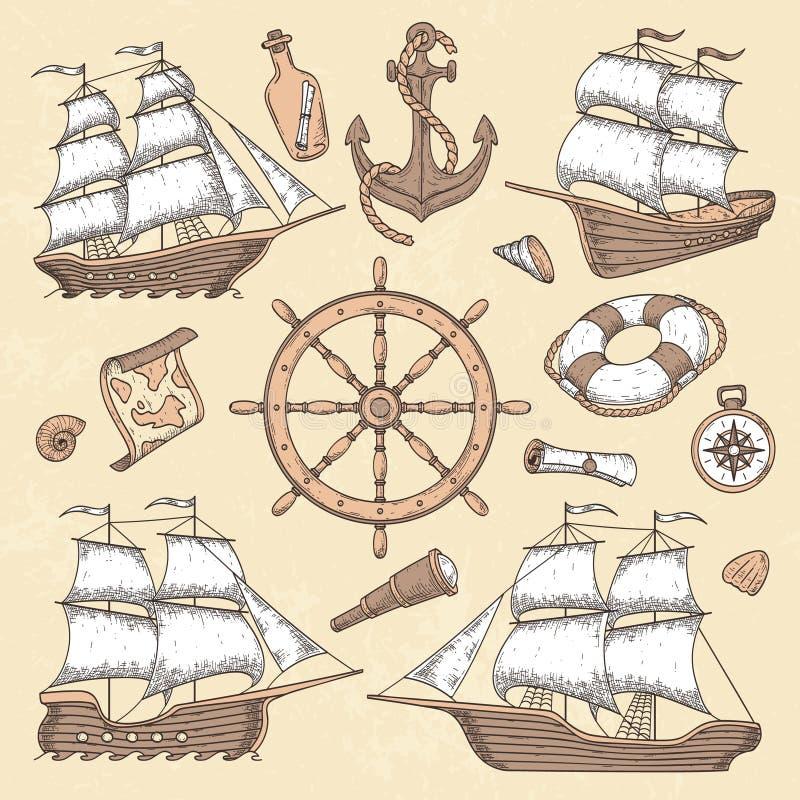 葡萄酒海洋船 老漩涡花饰框架、船船锚和海轮子有古老指南针的 海洋风船减速火箭的传染媒介 向量例证