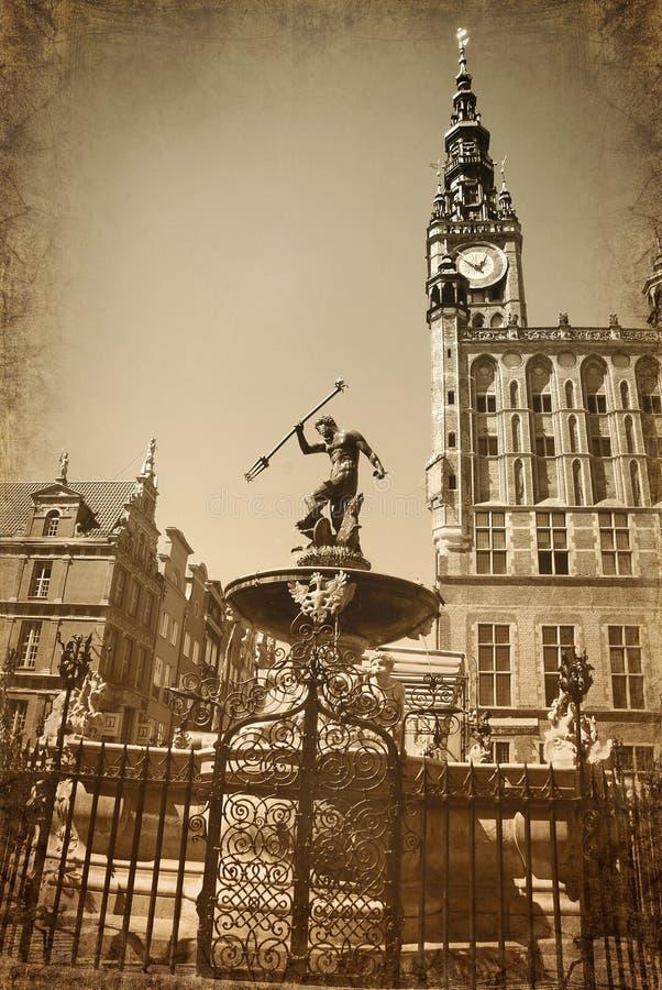 葡萄酒海王星喷泉样式照片在格但斯克 免版税库存图片
