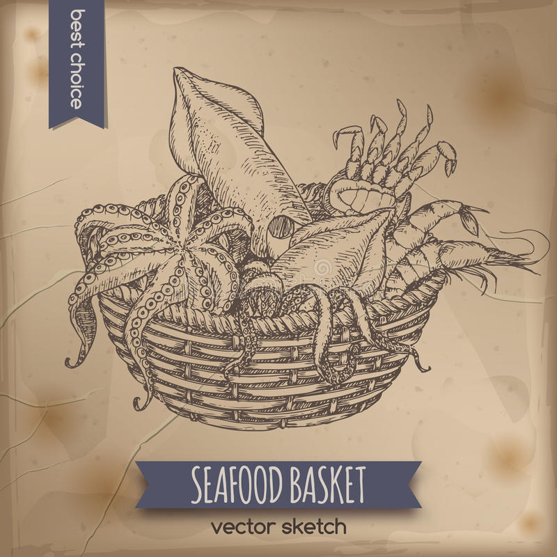 葡萄酒海鲜篮子剪影用章鱼、螃蟹、虾和乌贼 库存例证