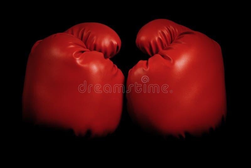 葡萄酒涌现从黑色背景的拳击手套 库存图片