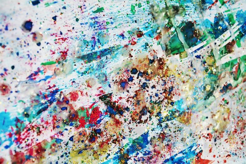 葡萄酒淡色金子绿色闪耀点燃蜡状的斑点,水彩油漆,五颜六色的颜色 免版税库存图片