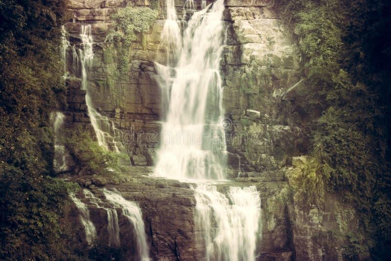 葡萄酒瀑布风景风景Ramboda在斯里兰卡Nawara Eliya下跌 免版税图库摄影
