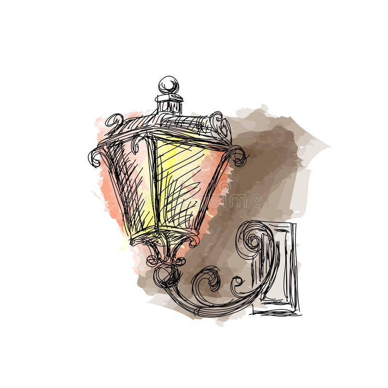葡萄酒灯笼灯,手拉 向量例证