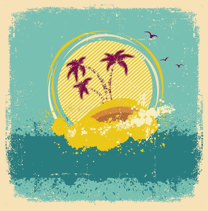 葡萄酒热带海岛。抽象图象 向量例证