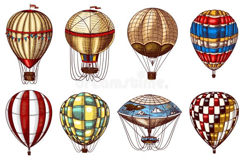 葡萄酒热空气气球 逗人喜爱的飞行减速火箭的运输夏天休假 被刻记的手拉的剪影 库存例证