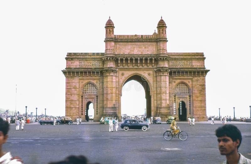 葡萄酒照片大约1962年,印度,孟买,孟买的门户 图库摄影