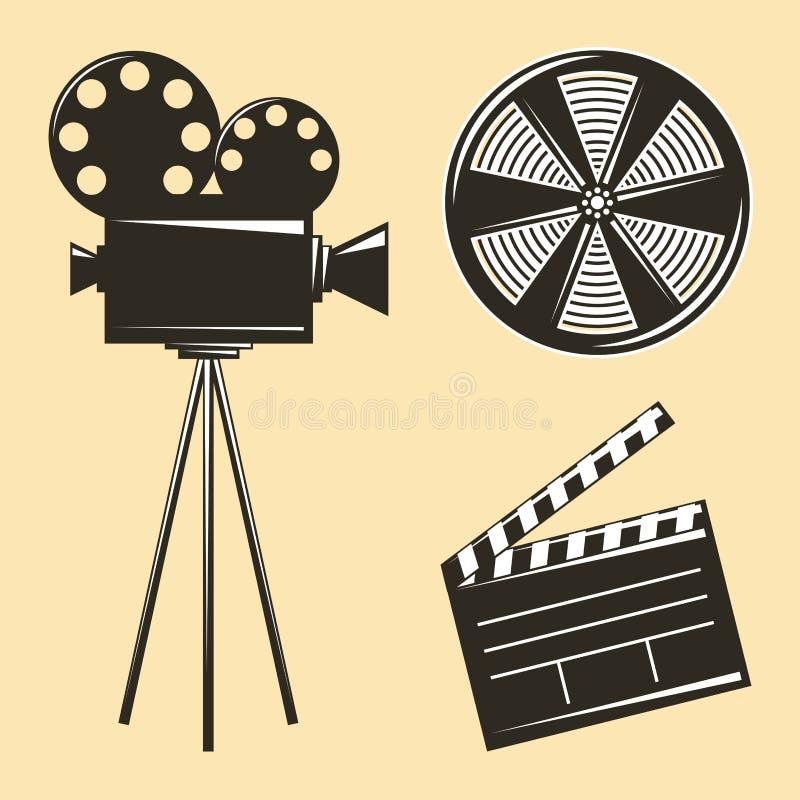 葡萄酒照相机三脚架和影片小条clapperboard 向量例证