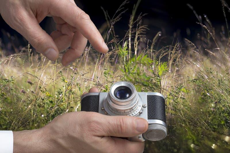 葡萄酒照相机供以人员手 图库摄影