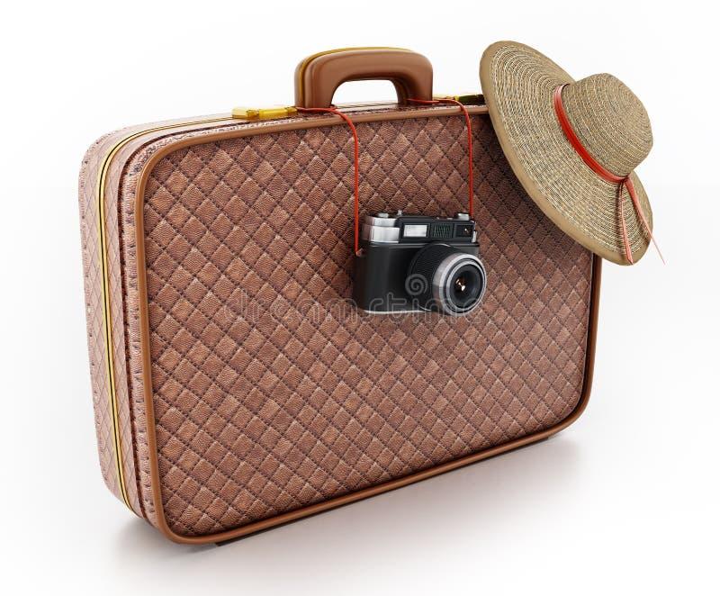 葡萄酒照相机和垂悬在手提箱的妇女的帽子 3d例证 免版税库存图片
