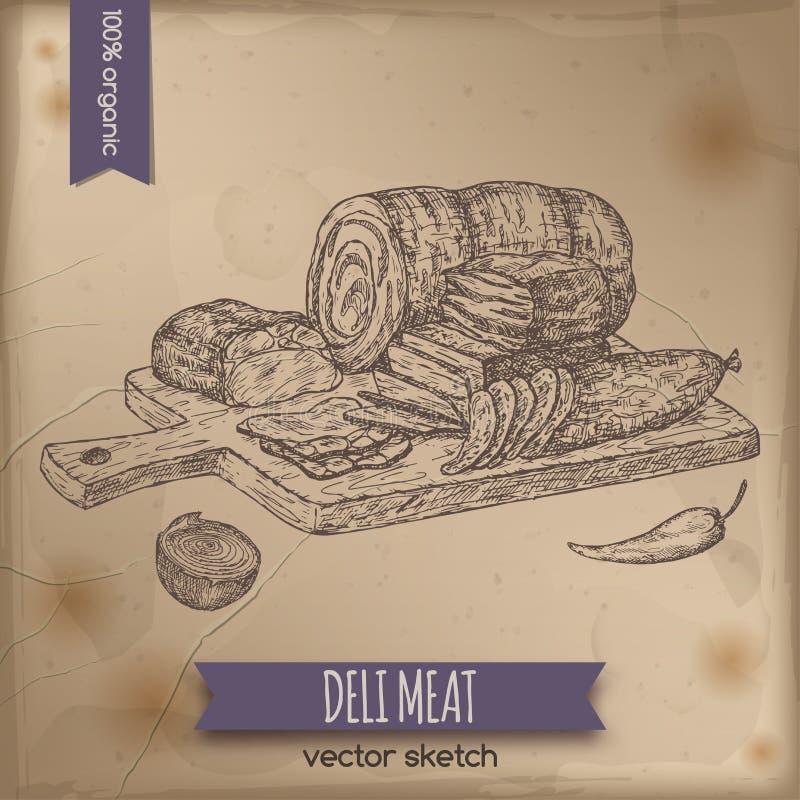 葡萄酒熟食店肉在老纸背景安置的盛肉盘模板 皇族释放例证