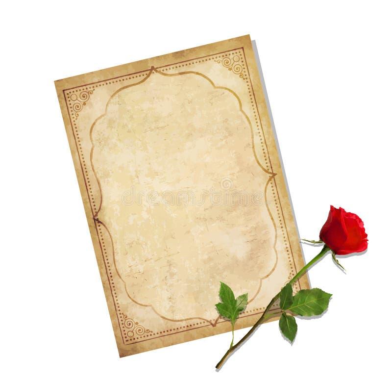 葡萄酒爱与红色玫瑰的邮件模板 库存例证